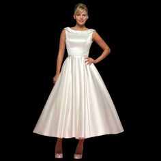 Joanne Tea Length Satin Wedding Dress LB36 With Boat Neck Design