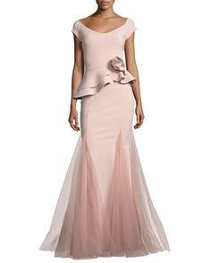 Lady+Cap-Sleeve+Peplum+Mermaid+Gown+by+La+Petite+Robe+di+Chiara+Boni+at+Bergdorf+Goodman.