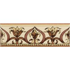 Art Nouveau Lily Classical Decorative Border, Pink on Colonial White