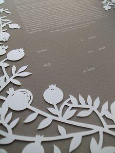 Papercut Ketubah - Pomegranate Frame #ketubah