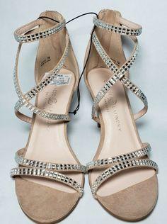 2f83fab81f07 Chinese Laundry Women Size 8.5 Nude Silver Rhinestone Open Toe High Heel  Shoes  ChineseLaundry