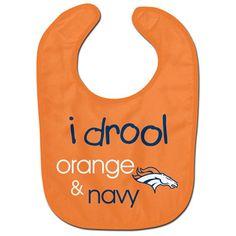 Denver Broncos I Drool Orange & Blue Baby Bib