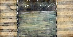 """""""Night Sail"""" by Michaelle Peters, www.michaellepc.com.  Encaustic, pigment, mixed media on panel, 12x24"""""""