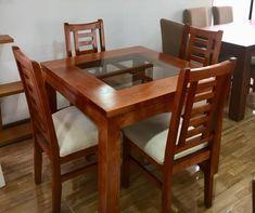 comedor 4 sillas Wooden Dining Table Designs, Dinning Table Design, Wooden Sofa Designs, Wooden Dining Tables, Dining Sets, 4 Chair Dining Table, Fabric Dining Room Chairs, Wood Chair Design, Furniture Design