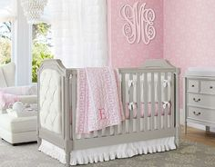 Soft pink and grey girls nursery idea with feminine details