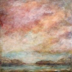 """'Sheltered Sun' - Michaelle Peters, mpetersfineart.com - encaustic, oil, vintage book pages on board, 18x18x1.5"""""""