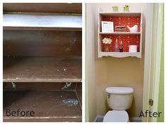 From REMODALaholic, an upcycled Bathroom Shelf. they used fabric on the back piece.