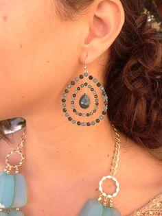 $19 Green chalcedony/emerald green double tear drop earrings