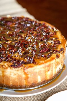 Pecan Pie Cheesecake: Creamy brown sugar cheesecake topped with a decadent pecan pie filling. Your favorite holiday pie, in cheesecake form! The Cheesecake Factory, Pecan Pie Cheesecake, Cheesecake Recipes, Cheesecake Toppings, Coconut Cheesecake, Köstliche Desserts, Delicious Desserts, Plated Desserts, Pecan Recipes