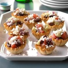 Greek Veggie Tartlets Recipe -This recipe started out as a salad, which I re-created after a trip to Greece. When my husband suggested I serve the mixture in phyllo cups, it became my most-requested appetizer!—Radelle Knappenberger, Oviedo, Florida