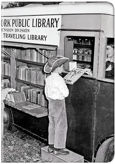 Bookmobile -- we walked blocks to the bookmobile! Thank goodness that books weighed less then.