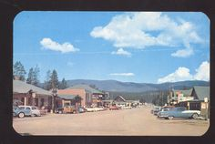 GRAND LAKE COLORADO 1950's CARS WOODY WAGON STREET SCENE OLD POSTCARD
