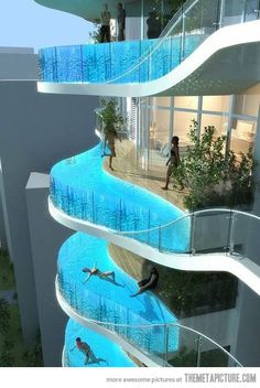 I think with the weight of it as it's current design is wouldn't work. Plus how many people would swim there when a fear of heights is rampant. Seriously. I'd be scared as hell. Neat concept though.