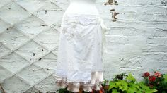 Upcycled Skirt Woman's Clothing Ivory Beige Champagne Polka Dot Cotton Layers Mori Girl inspired