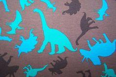 Baumwoll Jersey Kinder Stoff Bündchen Dinos Saurier J.Swafing Vicente braun