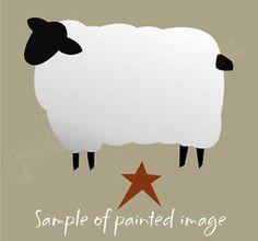 "free primitive star pattern | Animal Stencil 10"" Primitive Sheep Star Woolen Farm Country Folk Art ..."