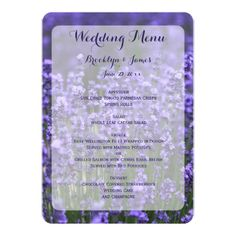 Custom Purple Lavender Wedding Menu Card