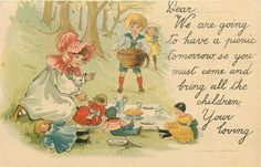 vignette of children in forest, girl in front playing with four dolls, boy behind with basket, another gilr behind in yellow dress