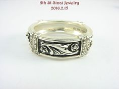 Estate LYRIC Sterling Silver 925 Diamond Floral Band Ring Size 8.5 #Lyric #Band