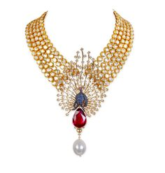 A unique necklace by Farah Khan with a mix of traditional uncut diamonds with a brilliant cut diamond studded peacock with a blue sapphire body and perched upon a large ruby.