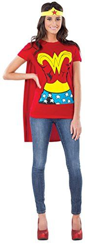 DC Comics Wonder Woman T-Shirt With Cape And Headband, Red, Medium Costume - Adult Halloween Costume Reviews