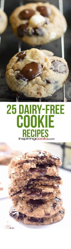 25 of the Best Ever Dairy-Free Cookie Recipes These are the best dairy-free cookie recipes you'll find with no butter or milk chocolate in them. It can be a real challenge to find dairy-free desserts. Dairy Free Baking, Dairy Free Treats, Dairy Free Cookies, Dairy Free Diet, Lactose Free Recipes, Allergy Free Recipes, Baby Food Recipes, Dessert Recipes, Cookie Recipes