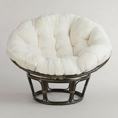 Ivory Faux Fur Papasan Cushion   World Market   In the corner of my living room