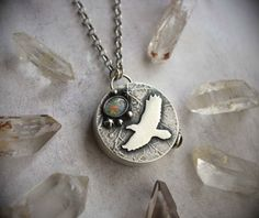 RESERVED Raven on the Wind Hollow Form Necklace  by LaFreeBoheme