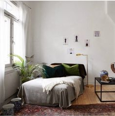 Dream bedroom, greens and greys, Persian rug