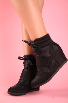 d99113cc14d These black sneaker wedges I want these sooo bad! Hidden Wedge Sneakers