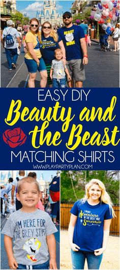These easy DIY Beauty and the Beast shirts are perfect for a trip to Disney, for a Beauty and the Beast party, or to wear to the new Beauty and the Beast movie! With Belle, Chip, and Beast options the (Diy Crafts For Couples)