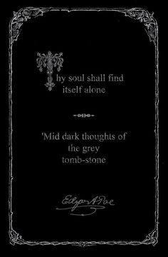 Framed Print - Edgar Allen Poe Gothic Quote Thy Soul Shall Find Itself Alone