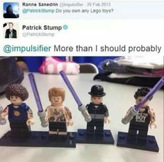 He has legos of his friends holding light savers from their photo shoot!! Omg I think I'm gonna die of cuteness