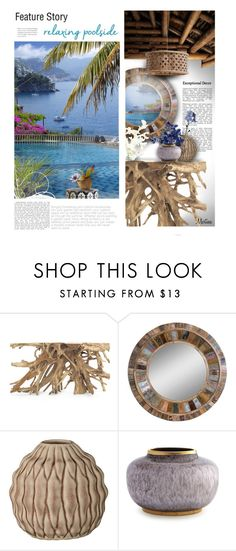 """""""Relaxing Poolside"""" by thewondersoffashion ❤ liked on Polyvore featuring interior, interiors, interior design, home, home decor, interior decorating, Mitchell Gold + Bob Williams, Uttermost, Bloomingville and AERIN"""