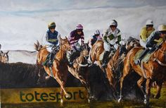 Horse racing scene painting by Tony O'Connor Equine Art whitetreestudio.ie