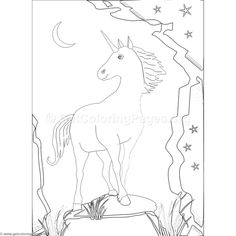 Free Instant Download  Unicorn and Moon Coloring Pages #coloring #coloringbook #coloringpages
