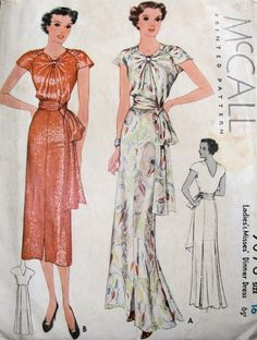Adapted from a Schiaparelli pattern according to McCall Style News. Featured in McCall Style News, January 1937