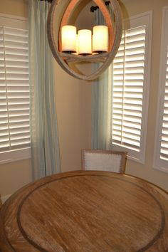 Soft and comfortable breakfast table area with great textures from the window treatments to the chandelier. Window Treatments, Chandelier, Windows, Breakfast, Table, Furniture, Design, Home Decor, Homemade Home Decor