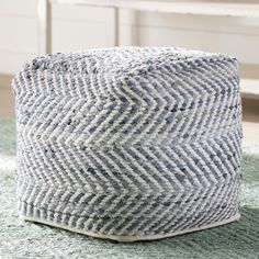 This Lubec Chevron Pouf Ottoman is a queen of the blue jeans. Woven from strips of denim, the square shape will be a favorite go-to seat or ottoman. It's also sturdy enough to hold a serving tray. Pouf Ottoman, Ottoman Decor, Soft Seating, Extra Seating, Coastal Living Rooms, Home Living Room, Yurt Living, Home Deco, Knitted Pouf
