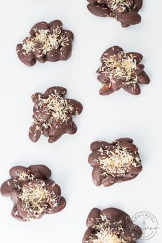 Dark Chocolate Coconut Almond Clusters - easy to make with only five ingredients! A healthy alternative to candy!