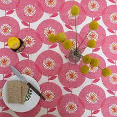 """""""Flower Field"""" in rosy, Skinny laMinx  http://www.etsy.com/listing/85552546/tablecloth-flower-field-in-rosy"""