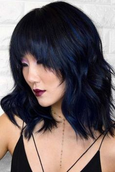 Dark Metallic Blue Highlights ❤ Want to pull off blue black hair? Dark blue balayage for long hair, jet black hair color with midnight blue highlights for medium length, ideas for short hair, and useful tips are here! Black Hair With Blue Highlights, Blue Black Hair Color, Dark Blue Hair, Brunette Highlights, Brunette Color, Purple Hair, Beautiful Hair Color, Cool Hair Color, Hair Colors