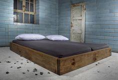 Baubohlen Bett Céreste Oak aus Holzbohlen
