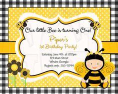 Bumblebee Birthday or Shower Invitation by graciegirldesigns77