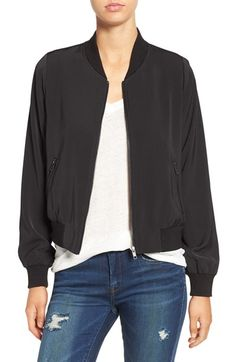 Free shipping and returns on Mural 'Smooth' Bomber Jacket at Nordstrom.com. Stark black trim pops against the smooth white construction of a trend-right bomber jacket that looks great layered over your favorite outfit for an edgy athleisure touch.