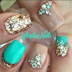 Brown and teal nails