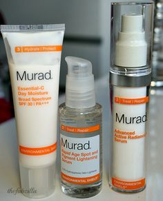 Do you have dark spots, aging skin and occasional acne? Check out Murad Environmental Shield line feat. Murad Rapid Age Spot and Pigment Lightening Serum, Murad Advanced Active Radiance Serum and Murad Essential C Day Moisture via @thefabzilla