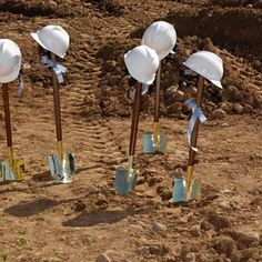 Equipment needed for dignitaries at a ground breaking ceremony.