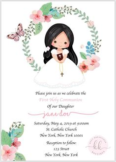 PDF Floral First Communion Invitation, Spring Theme First Communion Invitation, Girl Baptism Invitation, Girl First Communion Invitation - invates Baptism Invitations Girl, First Communion Invitations, Party Invitations Kids, Pink Invitations, Floral Invitation, Baptism Party, Boy Baptism, First Communion Decorations, Spring Theme