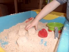 We used to have Moon Sand back when The Big One was an only child and I was still naively under the impresssion that it wasn't that hard to keep the house clean and tidy with kids. Rainy Day Activities For Kids, Rainy Day Fun, Hands On Activities, Preschool Activities, Crafts For Kids, Play Based Learning, Fun Learning, Babysitting Activities, Family Day Care
